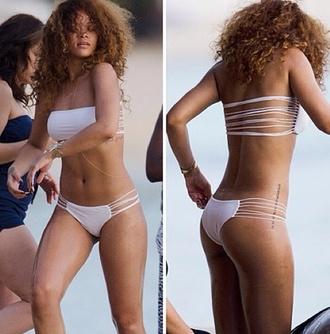 swimwear white bikini rihanna beach bikini