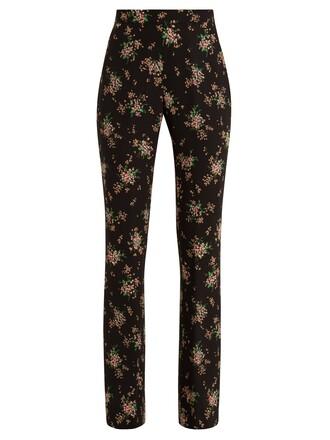 high floral print black pants