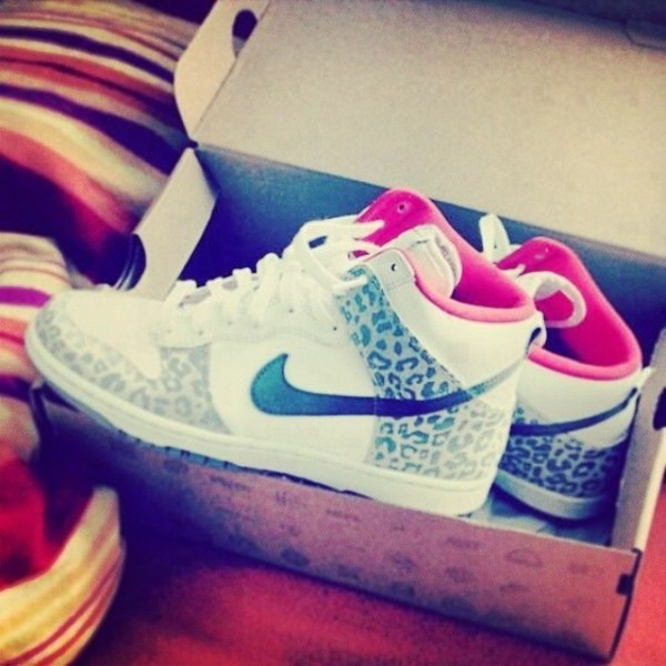 buy popular ed540 13b0b shoes leopard print black and white nike nike shoes hipster hipster hippie  basket pink basket pink
