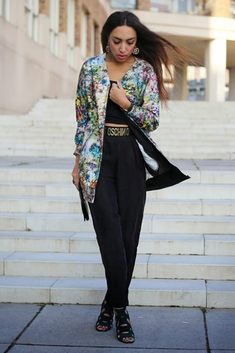 from hats to heels blogger belt bomber jacket colorful moschino pants