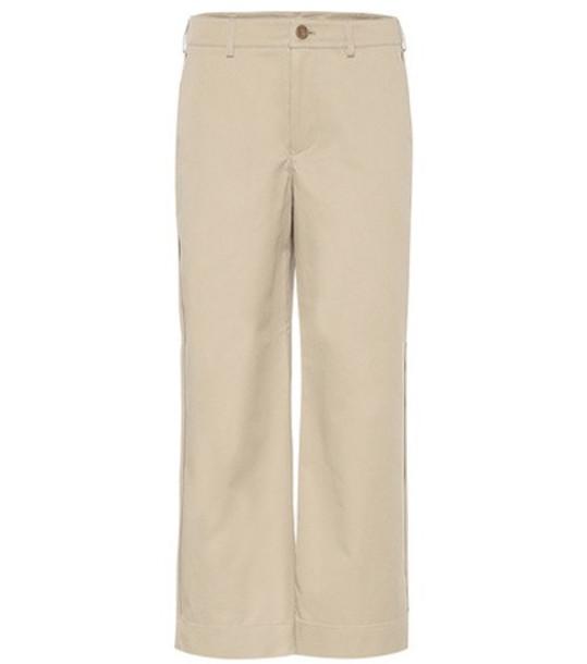 Acne Studios Cropped cotton pants in beige / beige
