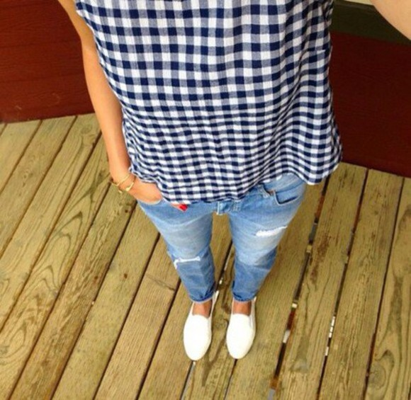 shoes jeans blouse bleu white trainers checkered