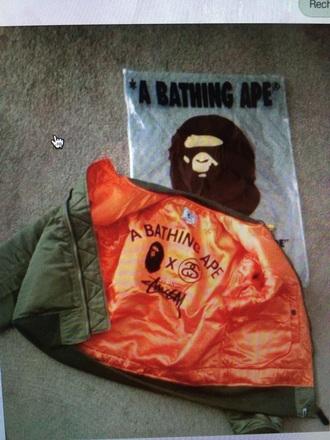 jacket bomber jacket orange bape stussy kaki a bathing ape