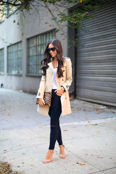 jeans leopard print blogger bag with love from kat trench coat