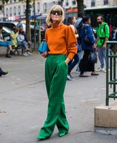 sweater,tumblr,knit,knitwear,knitted sweater,orange,orange sweater,pants,green pants,streetstyle