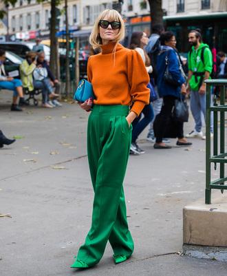 sweater tumblr knit knitwear knitted sweater orange orange sweater pants green pants streetstyle