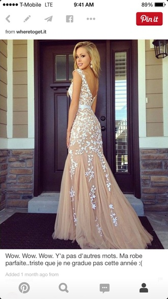 dress tan and white dress lace dress lace prom dress prom dress long prom dress