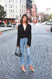 shirt,tumblr,black shirt,v neck,long sleeves,bell sleeves,denim,jeans,blue jeans,cropped jeans,bag,black bag,pumps,silver shoes,fall outfits,theclosetheroes,blogger,top,shoes,coat,sweater,bell sleeve shirt,flared jeans,metallic heels,date outfit,sexy outfit