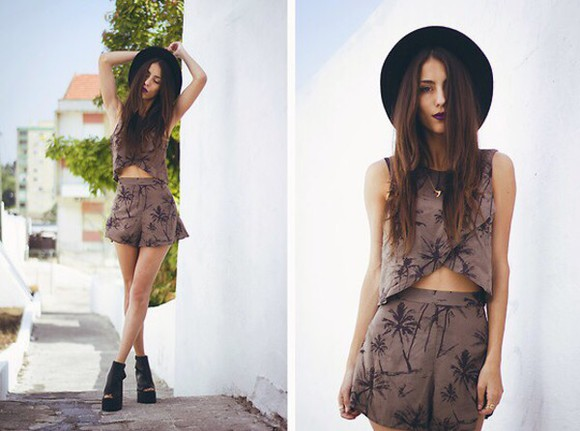 shirt top cute crop tops shorts black beige chestnut two-piece palm tree print set outfit blogger fashion hipser grunge 90's hat