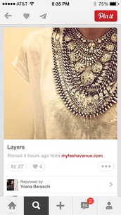 jewels,statement necklace,necklace,clear,crystal,layered,t-shirt,jewelry
