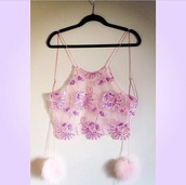 tank top,pink,embellished,embellishment,sequins,sequinned,sheer,chiffon,string,back,tie,fluffy,pom poms,pom-poms,detail,scalloped,crop,top,crop tops,high neck,embellished top,pink top,lace crop top