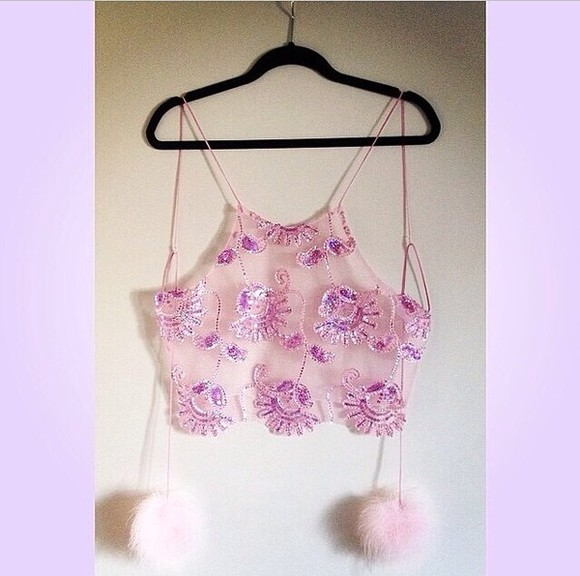 sequins tank top embellished top pink sequin embellishment sequinned sheer chiffon string back tie fluffy pompom pom-poms detail scalloped crop crop tops high neckline high neck