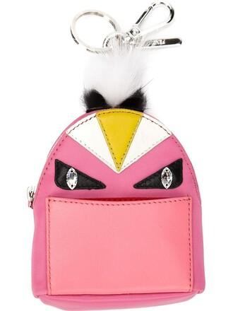 bag charm women bag backpack leather purple pink