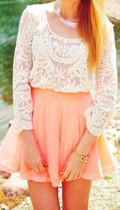 skirt,pink skirt,summer skirt,blouse,lace top,white,long sleeves,lace,orange,skater skirt,orange skirt,pastel skirt,peach,mini,flare,hight waisted