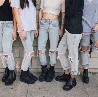 jeans ripped jeans light blue jeans unisex light blue boyfriend jeans blue jeans cut offs boyfriend jeans shoes black boots jean boyfriend large jeans jeans boyfriend grunge soft grunge soft grunge jean denim high waisted denim shorts blue black shirt grunge boots