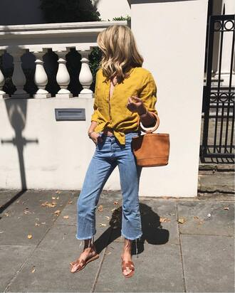 shirt tumblr yellow yellow top denim jeans cropped jeans shoes slide shoes bag handbag