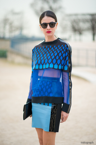 blouse blue top polka dots black transparent original sweater