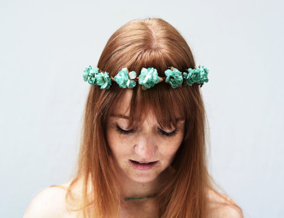 hair bow hair accessories head band hair flower rosebud fairy crown flower crown floral turquoise rose gold teal festival hippie woodland red hair red head