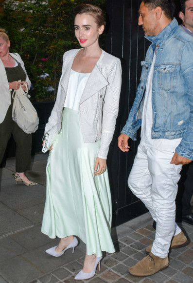 lily collins top skirt shoes