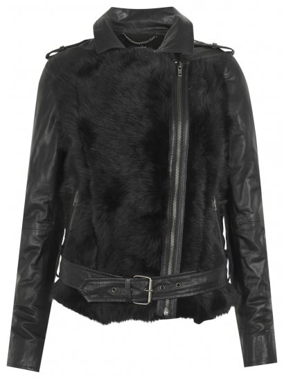 Aurora Shearling Biker Jacket in Black