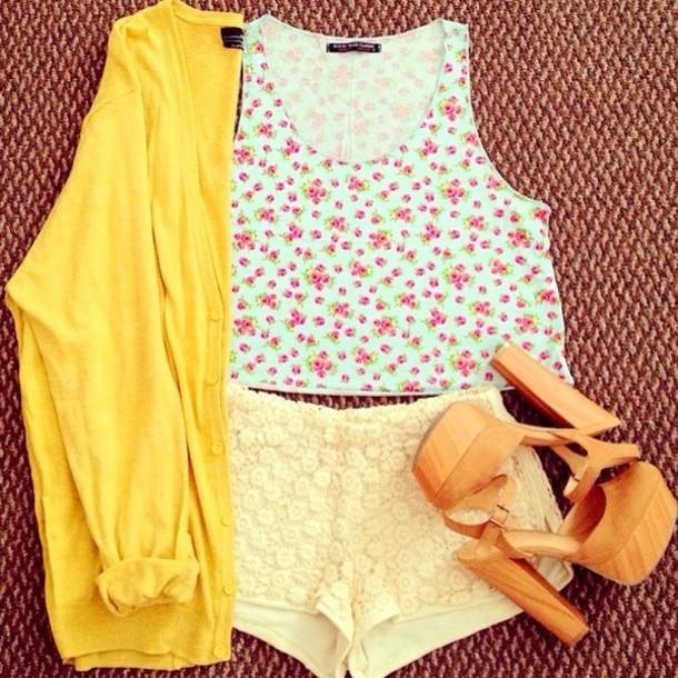 t-shirt floral tank top shorts cardigan
