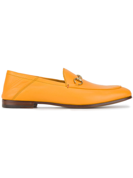 gucci women loafers leather yellow orange shoes
