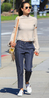 sweater,pants,navy,navy pants,alessandra ambrosio,streetstyle,model off-duty,sneakers,spring outfits