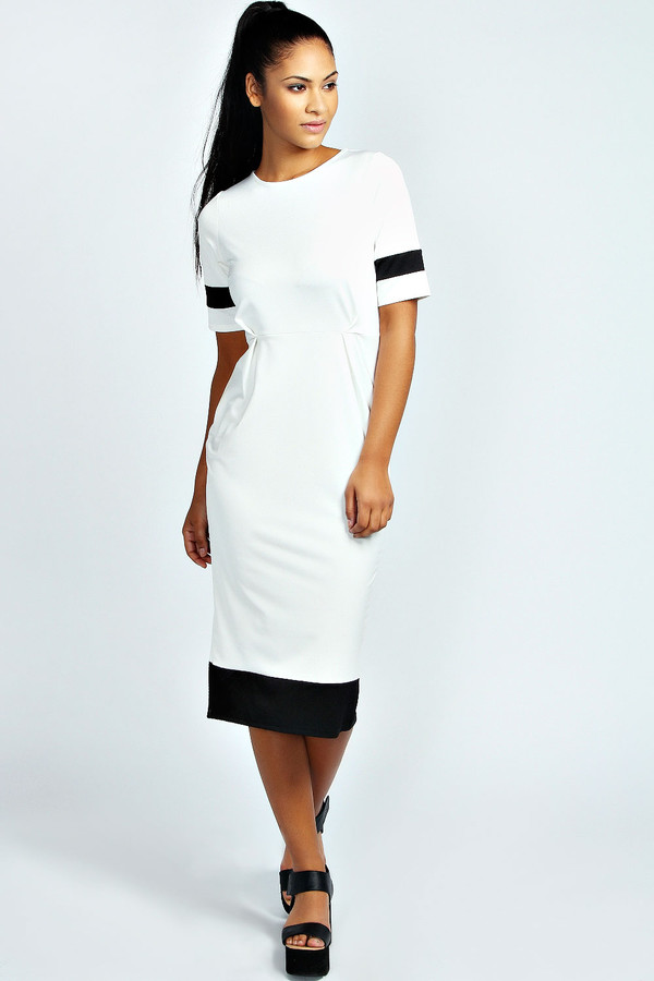 dress white jersey dress cute panel dress black contrast sleeves