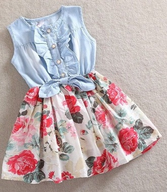dress toddler flowers denim multicolor