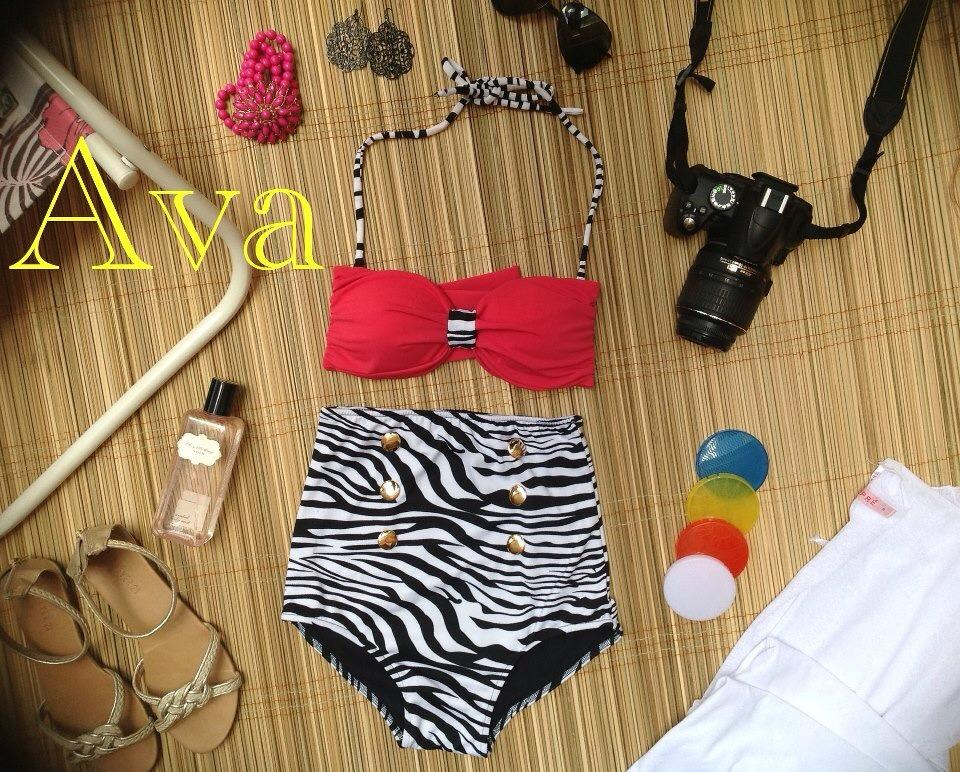 Ava High Waist Swimsuit - Red Top and Black & White Zebra Print Bottoms - Smoky Mountain Boutique