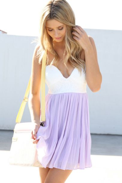 dress lavender white sabo skirt summer white dress lavender dress summer dress pastel pastel dress chiffon cute girly spring casual dress purple dress short strapless cute dress summer outfits flowy