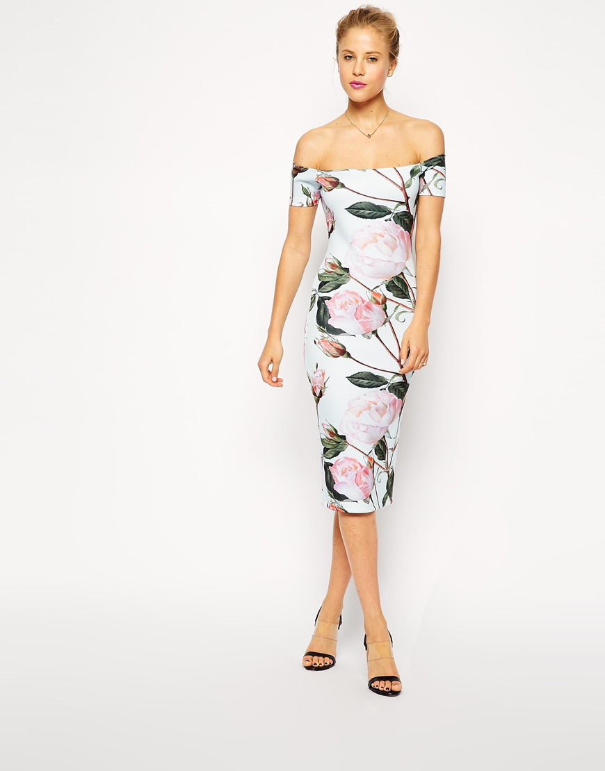 ASOS Floral Print Bardot Midi Bodycon Dress at asos.com