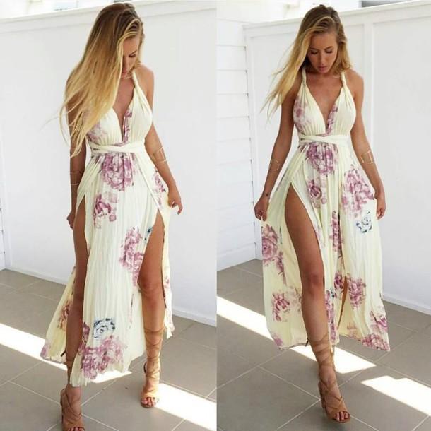 b68be299cd8 dress floral maxi dress side split maxi dress summer dress sexy sexy dress  floral dress
