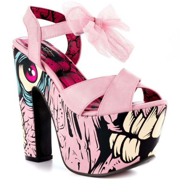 shoes zombie pastel pink pastel goth iron fist