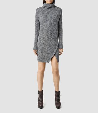 district dress up blogger sweater dress fall dress grey dress asymmetrical dress