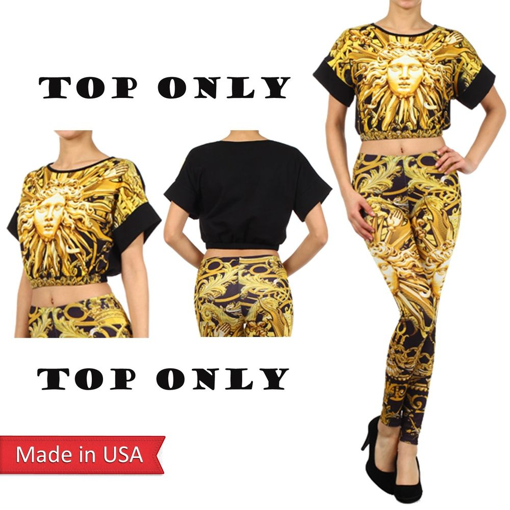 Gold Sun Face Baroque Print Cropped Top Shirt w/ Round Neck Short Sleeves USA