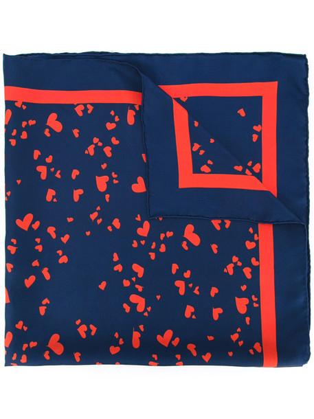 heart women scarf print blue silk