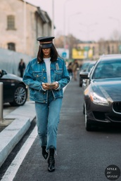 jacket,boots,black boots,hat,denim jacket,denim,All denim outfit,jeans,blue jeans,streetstyle