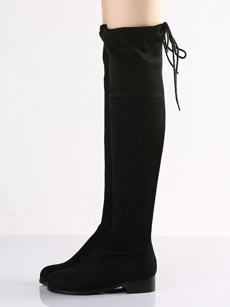 Suede Pointed Laced Back Over The Knee Flat Boots - Choies.com