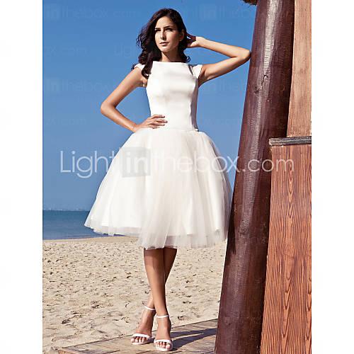 [usd $ 99.99] wedding dress ball gown knee length satin tulle bateau little white dress