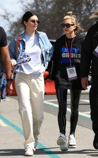 jeans pants model off-duty kendall jenner kardashians sunglasses hailey baldwin sweatshirt top denim jacket jacket sweater