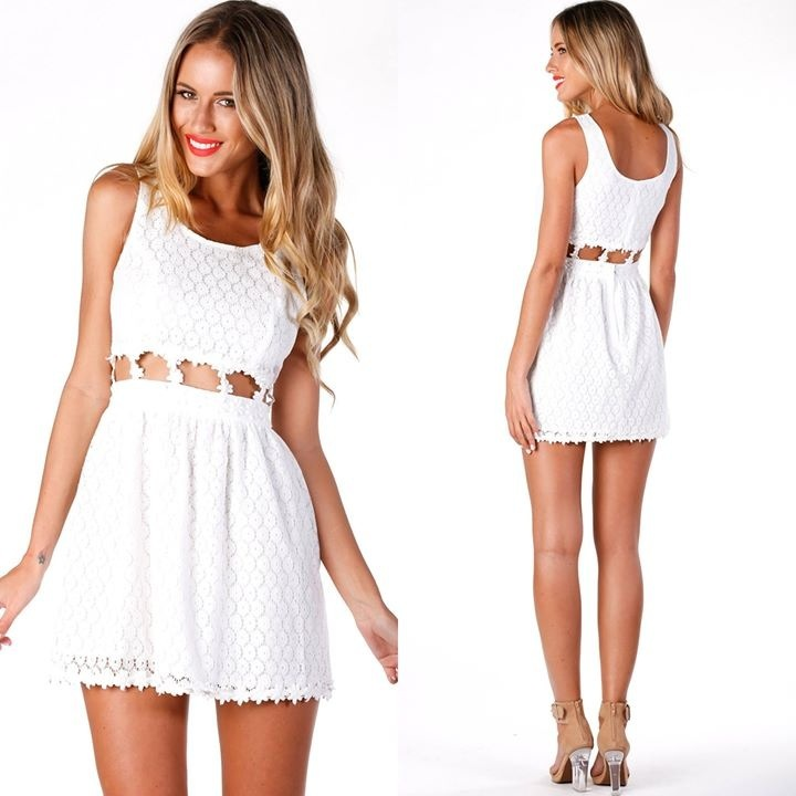 Fashion waist hollow out lace dress