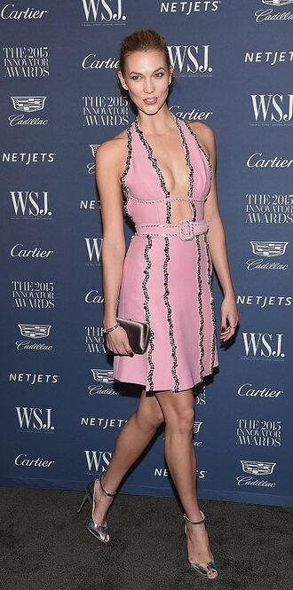 dress pink dress plunge dress plunge v neck sandals karlie kloss
