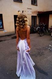 dress,prom dress,purple dress,white,prom,prom gown,long prom dress,open back dresses,backless blue and purple dresss