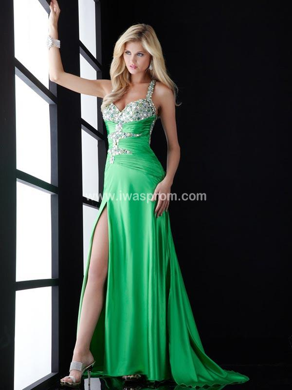 Sheath/column straps sleeveless sweep/brush train elastic woven satin prom dresses cheap prom dresses