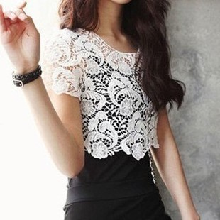 Hot Elegant Bohemia Korean Fashion Crochet Lace Women Knit Tops Outwear Shirt Wholesale Cheap shirt Blouse 2014 Promotion-inBlouses & Shirts from Apparel & Accessories on Aliexpress.com