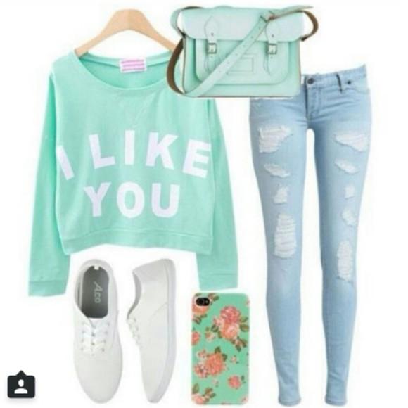turquoise i like you sweater cute sweaters half top
