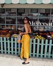shoes,mules,slide shoes,black mules,top,sunglasses,skirt,yellow skirt