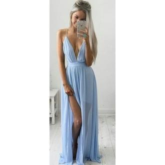 dress v neck v neck dress sheer blue dress slit dress long dress