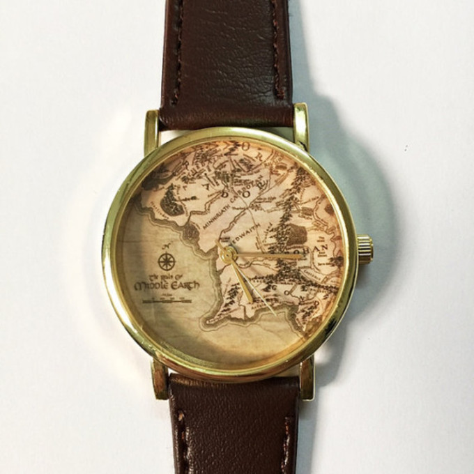 jewels middle fashion vintage map style watch etsy freeforme handmade middle earth map eartgh earth the middle